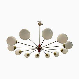 Large Sputnik Opaline Glass Brass Chandelier 12 Lights