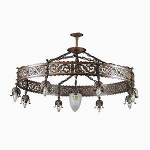 Antique Iron & Copper Nine-Light Pendant Chandelier, 1910s