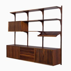 Danish 3-Bay Modular Wall Unit in Rosewood with 4 Cabinets & Display Shelf by Poul Cadovius for Cado, 1960s