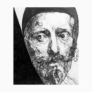 Filippo Mattarozzi, nach Lucas Vorsterman, Porträt von A. van Dyck, Bleistift und Tusche