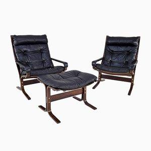 Sedie Siesta in pelle e poggiapiedi di Ingmar Relling per Westnofa, set di 3