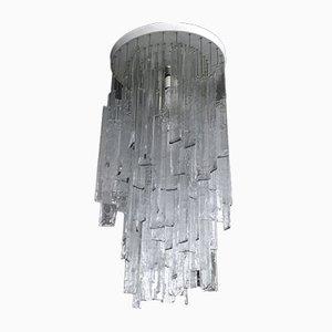 Lámpara de araña vintage grande de cristal de Murano transparente de Mazzega, años 70
