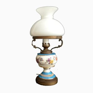 French Rustic White and Blue Floral Opaline Glass & Hand Painted Ceramic Table Lamp, 1950s