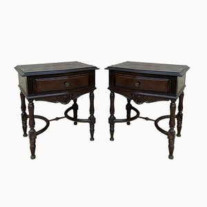 Early 20th Century Spanish Chestnut Nightstands with Drawer and Metal Hardware, Set of 2