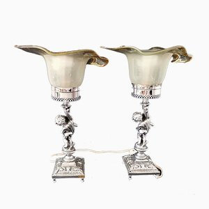Art Nouveau or Rococo Murano Glass & Chrome Table Lamps with Statues, 1950s, Set of 2