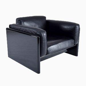 Black Leather Simone Armchair by Dino Gavina for Studio Simon