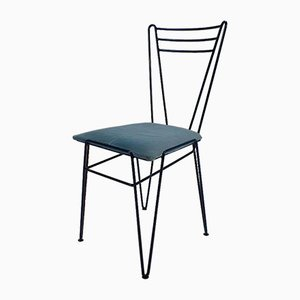 Mid-Century Blue Lacquered Wire Chair, 1950s