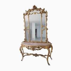 Consolle barocca con specchio e ripiano in marmo, Italia, inizio XX secolo