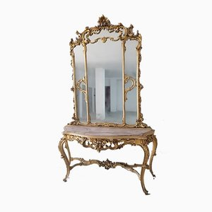 Italian Baroque Console with Mirror & Marble Top, 1900s