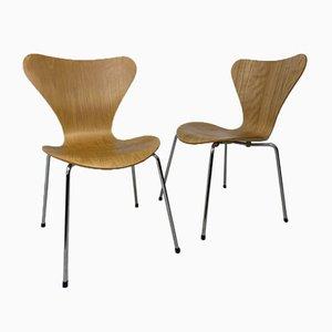 Vintage 3107 Esszimmerstühle von Arne Jacobsen für Fritz Hansen, 2er Set