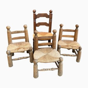 Straw Chairs by Charles Dudouyt, Set of 4