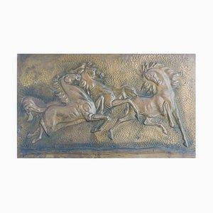 Mid-Century Pferd Wandtafel aus geprägtem Kupfer, 1950er