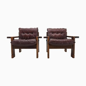 Mid-Century Leather Armchairs, 1960s, Set of 2