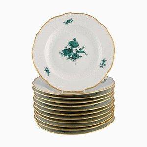 Antike Meissen Teller aus Porzellan mit handbemalten Blumen, 12er Set