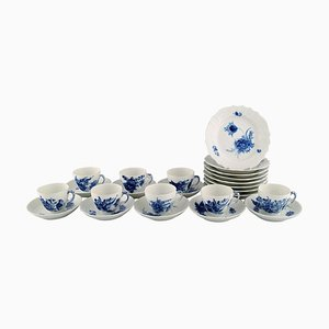 Blue Flower Curved Coffee Service for Eight People from Royal Copenhagen, 1980s, Set of 24