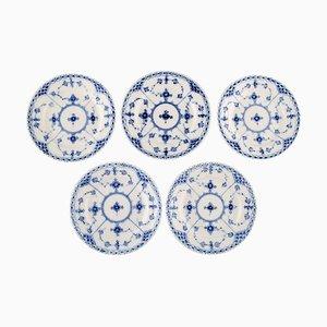 Antique Model Number 1/576 Blue Fluted Half Lace Plates from Royal Copenhagen, Set of 5