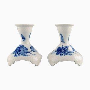 Portacandele a forma di fiore modello nr. 10/1711 blu di Royal Copenhagen, set di 2