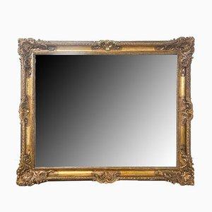 Antiker rechteckiger französischer Spiegel mit vergoldetem Rahmen