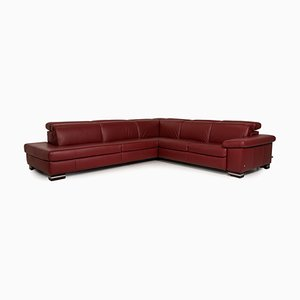 Red Leather Corner Sofa from Ewald Schillig
