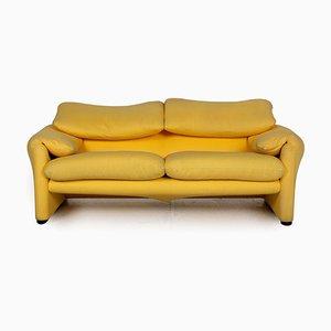 Maralunga 2-Sitzer Sofa in Gelb von Cassina