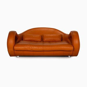 Slow Rider Orange Leather Sofa from Bretz