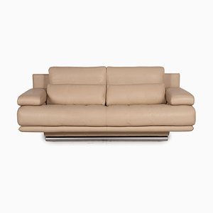 Model 6500 Beige Leather 2-Seater Sofa from Rolf Benz