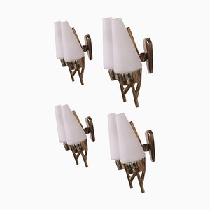 Applique in ottone e vetro opalino, Italia, anni '50, set di 4