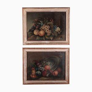 Naturaleza muerta con flores y frutas, escuela italiana, siglo XIX, óleo sobre lienzo. Juego de 2