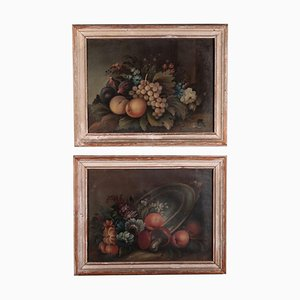 Still Life Paintings with Flowers and Fruit, Italian School, 19th-Century, Oil on Canvas, Set of 2