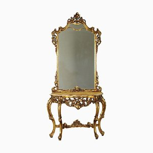 Revival Console Table with Mirror, Italy, 20th-Century