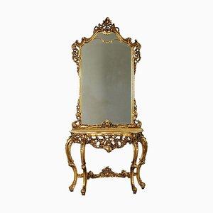 Revival Konsolentisch mit Spiegel, Italien, 20. Jh