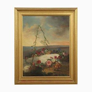 Celebratory Gemälde mit Blumen, Öl auf Leinwand