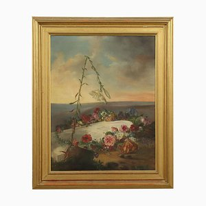 Dipinto celebrativo con fiori, olio su tela