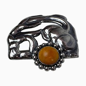 Art Nouveau Brooch in 833 Silver with Amber, 1930s