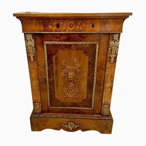 Antique Victorian Burr Walnut Inlaid Side Cabinet