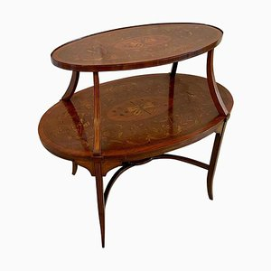 Antique Victorian Mahogany Inlaid Two-Tier Etagere