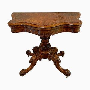 Tavolo da gioco vittoriano antico in radica di noce
