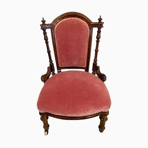 19th Century Victorian Carved Walnut Lady's Chair