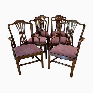 Antike viktorianische Esszimmerstühle aus geschnitztem Mahagoni, 6er Set
