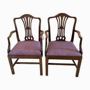 Antike viktorianische Schreibtischstühle aus geschnitztem Mahagoni, 2er Set