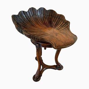 Antiker drehbarer italienischer Musikhocker aus geschnitztem Nussholz