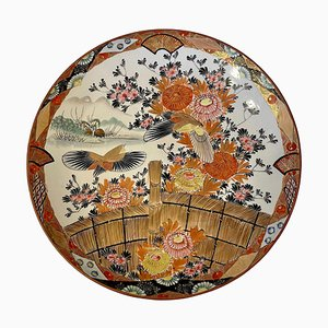 Große antike handbemalte flache Kutani Schale von Shozo