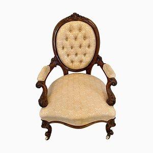 19th Century Victorian Carved Walnut Gentleman's Chair