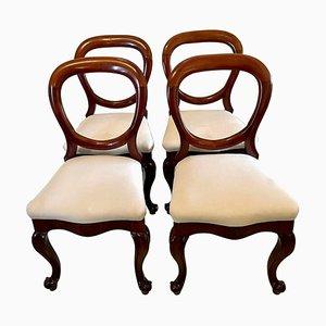 Antike viktorianische Esszimmerstühle aus Mahagoni, 4er Set