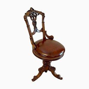 Chaise de Musique Tournante Victorienne en Noyer Sculpté, 19ème Siècle