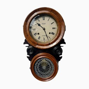 Antique Victorian Walnut and Ebonised Wall Clock