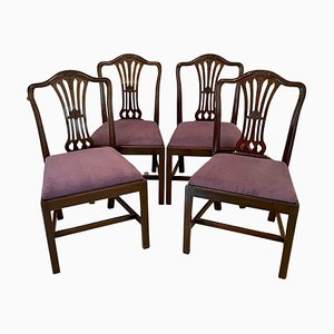 Antike viktorianische Esszimmerstühle aus geschnitztem Mahagoni, 4er Set