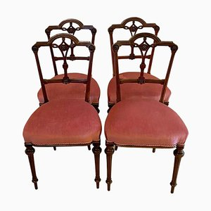 19th Century Victorian Walnut Dining Chairs, Set of 4