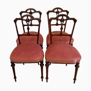 Viktorianische Esszimmerstühle aus Nussholz, 19. Jh., 4er Set