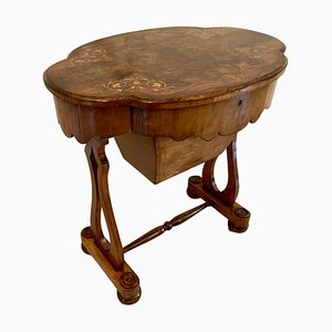Tavolo da lavoro antico vittoriano in radica di noce
